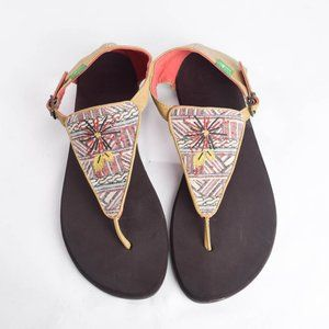 Sanuk Womens 7 Embroidered Sun Thong Sandal